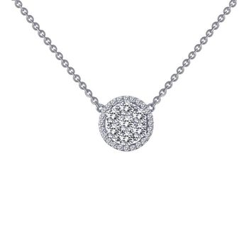 Lafonn Classic Sterling Silver Platinum Plated Lassire Simulated Diamond Necklace (1.01 CTTW)