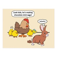Funny Easter Bunny Chocolate Eggs Postcard