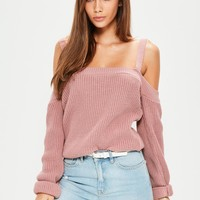 Missguided - Pink Supported Bardot Sweater