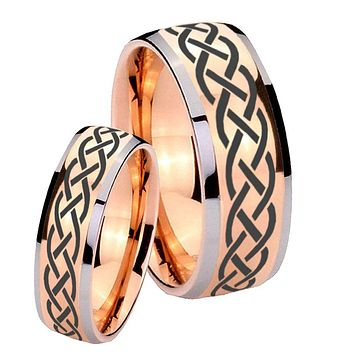 His Hers Rose Gold Dome Celtic Design Two Tone Tungsten Wedding Rings Set