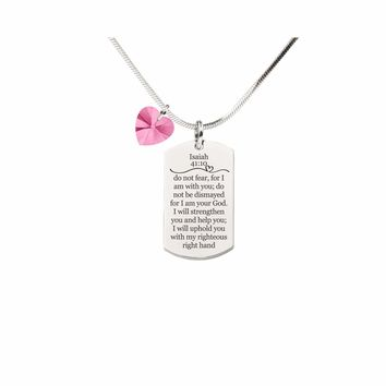 Isaiah 41:10 Tag Necklace With Pink Swarovski Crystal