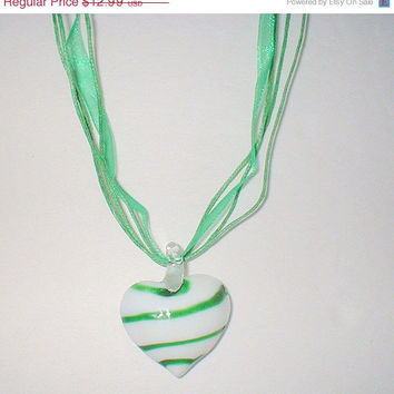 STORE WIDE SALE Murano Lampwork Green and White Swirl Glass Heart Pendant Ribbon Strand Necklace