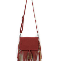 Wine Red Tassel Embellished PU Satchel Bag