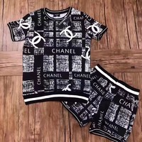 """Chanel"" Women Casual Fashion Letter Pattern Print Short Sleeve Shorts Set Two-Piece Sportswear"