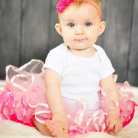 Skinny Elastic Headband, Newborn Headband, Baby Headband, Girls Hair Accessory, Hot Pink Shabby Flower Headband