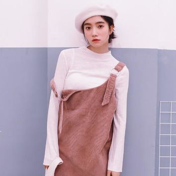 Women Suspender Dress 2018 Autumn Korean Style Vintage Sequined Circles Spaghetti Strap Mini Dress Corduroy Pink Grey D177