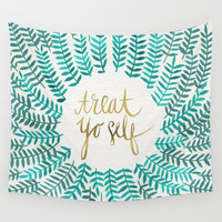 Treat Yo Self – Gold & Turquoise Wall Tapestry by Cat Coquillette