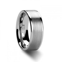 ELTON Flat Brush Finish Center Tungsten Carbide Ring
