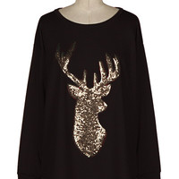 Black Long Sleeve Sequin Reindeer Shirt