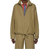 Gucci tide brand men and women full printed logo sports suit two-piece
