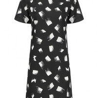 Black Short Sleeve Printed T-Shirt Dress