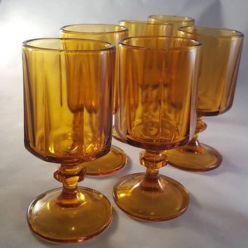 Indiana Glass Norveau Pattern Goblets  S/6