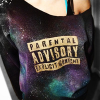 EXPLICIT CONTENT Distressed - Gold - GALAXY Sweatshirt Sweater Parental Advisory Warning -Off the Shoulder - or Regular  XSmall Small Medium