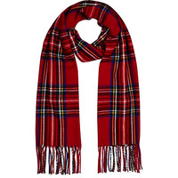 River Island Womens Red plaid blanket scarf