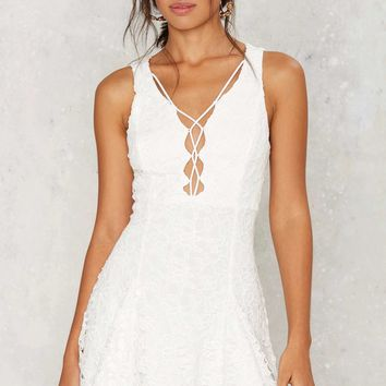 Malia Crochet Lace-Up Dress