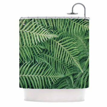 "Richard Casillas	 ""Ferns"" Green Black Shower Curtain"