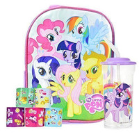 """My Little Pony Mini 10"""" Backpack Set - Includes Water Bottle and Stickers"""