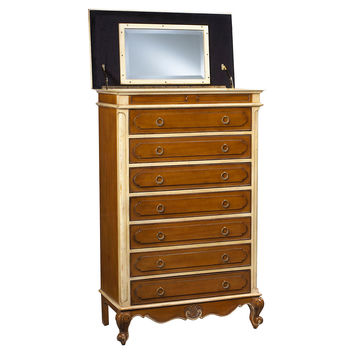 Lilles Mirrored Semainier Chest, Cherry, Chest of Drawers