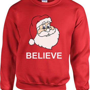 Funny Christmas Sweater Believe In Santa Sweater Christmas Presents Ugly Xmas Sweater Xmas Hoodie Holiday Unisex Hoodie - SA423