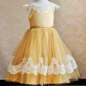 vintage lace rustic white  Yellow color spaghetti straps fluffy tulle ball gown flower girl dresses for weddings evening party