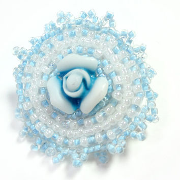 Soft Light Blue Flower brooch