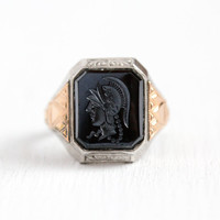 Vintage Cameo Ring - Sterling Silver & 10k Rose Gold Simulated Hematite Soldier Intaglio - 1930s Size 9 3/4 Art Deco Men's Statement Jewelry