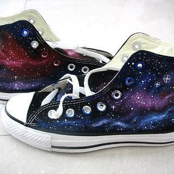 galaxy converse sneakers purple and blue galaxy shoes hand paint converse galaxy ins