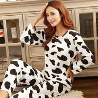 Cotton Sexy Sleepwear Pajama Sets Cute Cartoon Cow Nightgown Women Girl's Winter Sleepcoat Nightclothes Pajamas = 1929747972