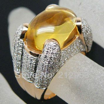 Vintage Solid 14Kt Yellow Gold 15.33Ct  Natural Oval 19x25mm Yellow Citrine Ring