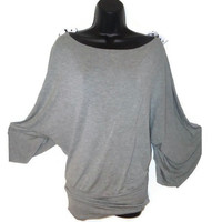 Gray Wide Sleeved Off Shoulder Kimono Basics Top with Removable Polka Dot Bows Womens Large