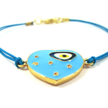 Blue Evil Eye Gold Bracelet Gift Summer by mediterraneangirl