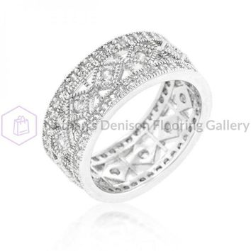 Simple Classic Cubic Zirconia Band (size: 08) R08319R-C01-08