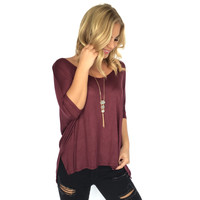 Freedom Jersey Blouse In Merlot