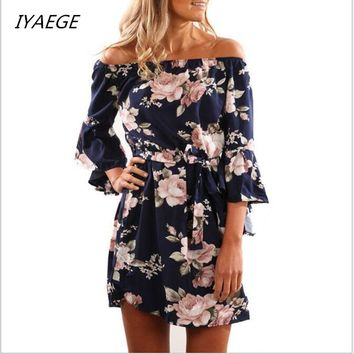 *online exclusive* floral 3/4 length sleeve dress
