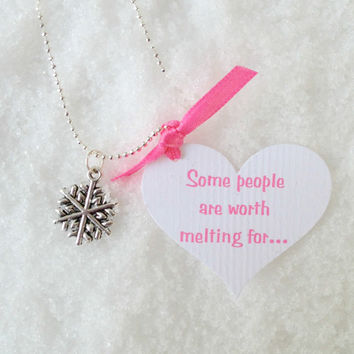 Frozen Snowflake Necklace with quote and Elsa's Aqua Gloves