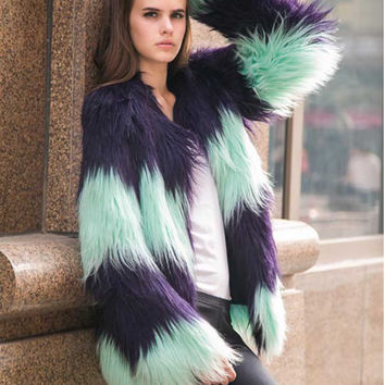 Blue Striped Quality Tie-Dye Faux Fur Coat