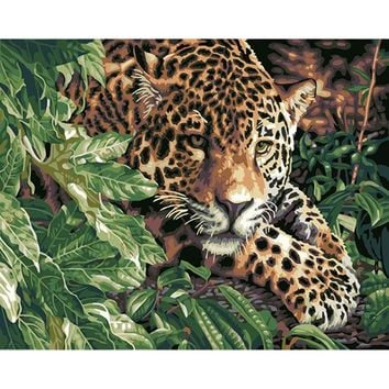 Frameless Hide Leopard Animals DIY Painting By Numbers Kits Coloring Acrylic paint Wall Art Picture For Home Decoration 40x50cm