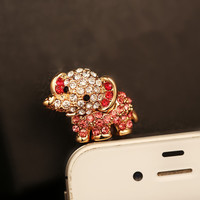 Cute Rhinestone Baby Elephant Plugy for iPhone JKH12