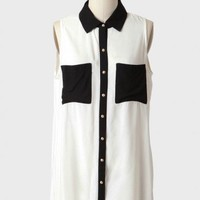 retro elegance colorblock blouse at ShopRuche.com