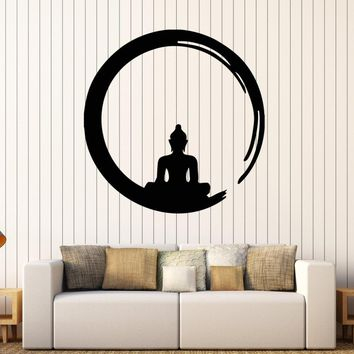 Personality Buddha Vinyl Wall Stickers Decal Buddhism Meditation Circle Enso Zen Religion Wall Tattoo Decor Living Room SA186