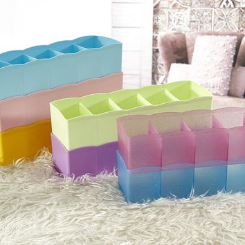 Lovely 5 grid plastic boxes multi-purpose Storage Box Underwear Bra Socks Tie Organizer Divider Boxes Closet Organizer