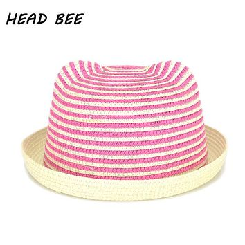 [HEAD BEE] 2018 New Fashion Stripe Beach Floppy Sun Hat Straw Cap Ears Cartoon Summer Hats For Kids Girls Boys Panama Children