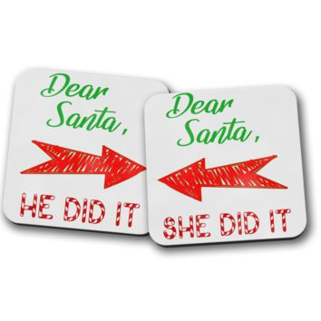 Dear Santa Couples Coaster Set, Christmas Decoration, Pair of Coasters, Home Decor, Kitchen Sets, Table Designs, 2 Coasters