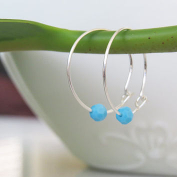 Silver earrings - Thin Silver earrings , tiny sterling silver hoops, turquoise bead, simple dainty earrings, everyday jewelry