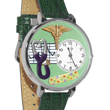 Whimsical Watches Healthcare Nurse Gift Accessories 2 Green Watch in Silver (Unisex)