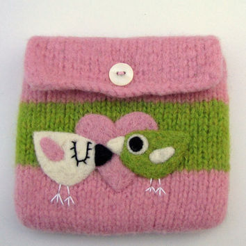 Felted bag pouch pink green wool purse bag hand knit needle felted birdies birds in love