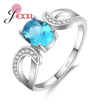 JEXXI 925 Sterling Sliver Engagement Ring Unique Design Lord Of The Rings With OVal Crystal Women Wedding Rings