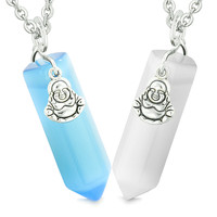 Happy Buddha Love Couples Best Friends Crystal Points Amulets White Sky Blue Simulated Cats Eye Necklaces