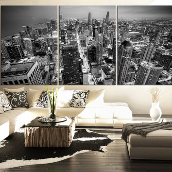 LARGE Wall Art Canvas Print Black and White Chicago Skyline - 3 Panel Triptych Grayscale chicago Extra Large Canvas Wall Art - MC101