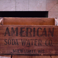 Vintage American Soda Water Wood Crate, Wooden Crate, Milwaukee Wisconsin